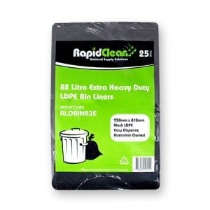 RapidClean Extra Heavy Duty Black LDPE Garbage Bags