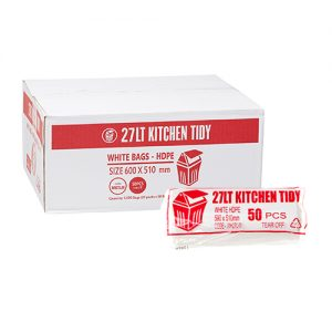 27L Med Kitchen Tidy Liner HDPE - White