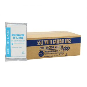 55L Contractor White Bin Liner HDPE